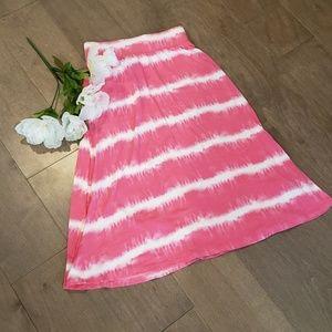 Cherokee tie die pink and white maxi skirt